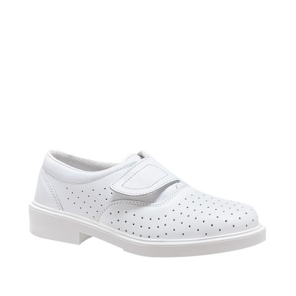 LONDRES VELCRO BLANCO CALADO zapato laboral mujer tacon blanco